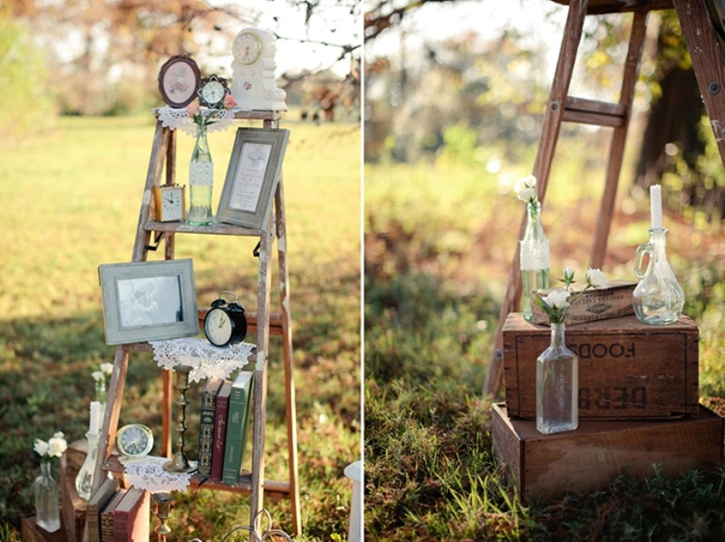 Picture Of Romantic Vintage Wedding Inspiration With Clocks Decor