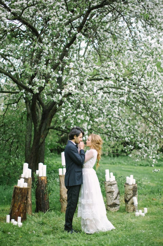 Picture Of romantic white wedding inspirational shoot in a blossoming garden  7