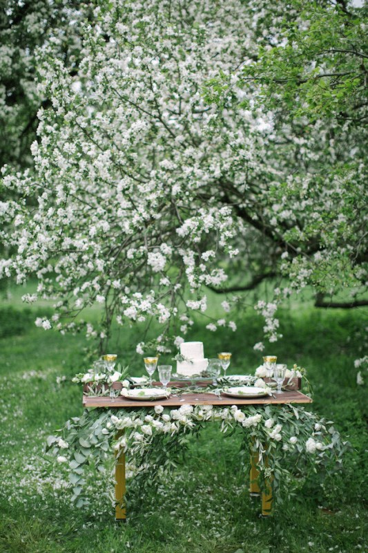 Picture Of romantic white wedding inspirational shoot in a blossoming garden  8
