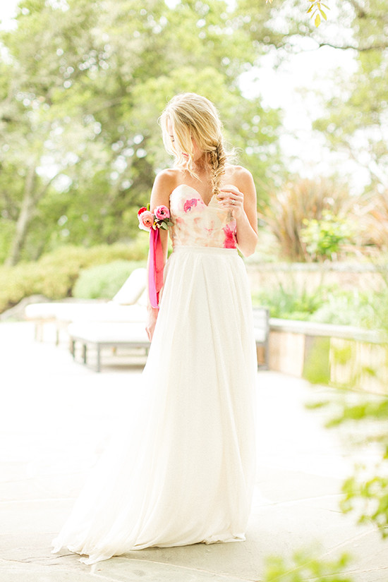 Picture Of romantic wine country wedding inspiration with pops of pink  1