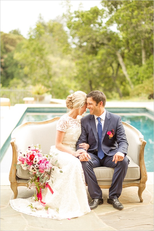 Picture Of romantic wine country wedding inspiration with pops of pink  11