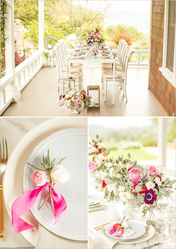 Picture Of romantic wine country wedding inspiration with pops of pink  12