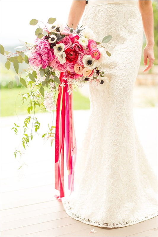 Picture Of romantic wine country wedding inspiration with pops of pink  9
