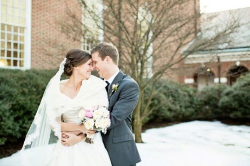 Romantic Winter Wedding With Navy And Pink Touches
