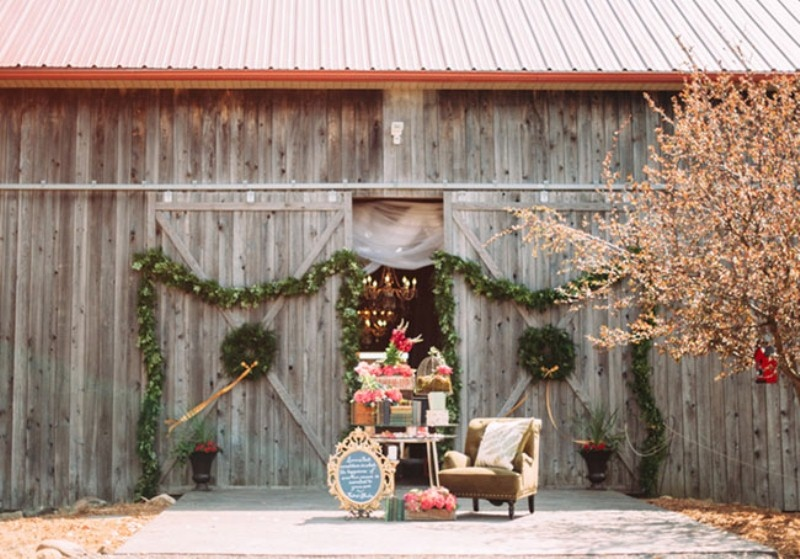 Picture Of rustic chic barn wedding inspiration  1
