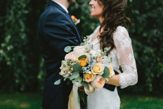 Picture Of rustic mountain wedding with peach touches  15