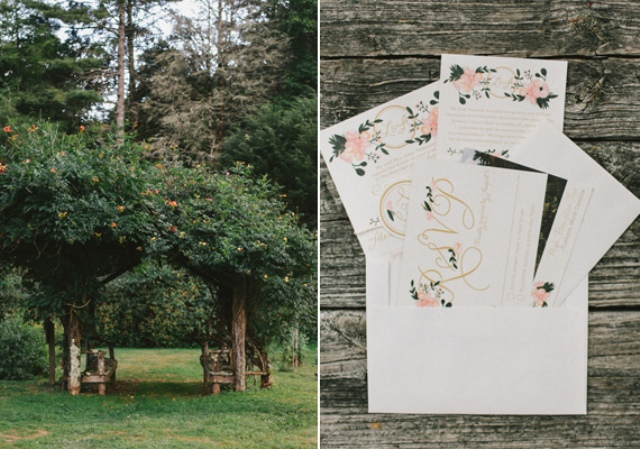 Picture Of rustic mountain wedding with peach touches  4