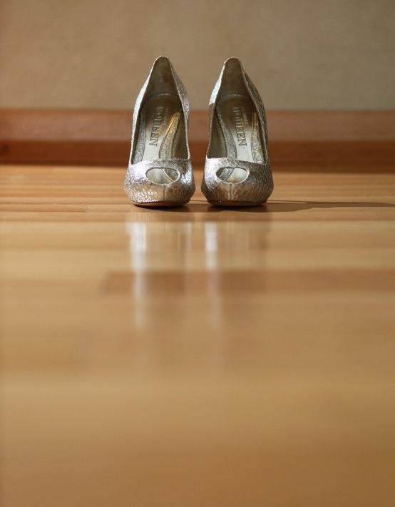 silver peep toe wedding shoes will add a sparkly and bright touch to your winter bridal look