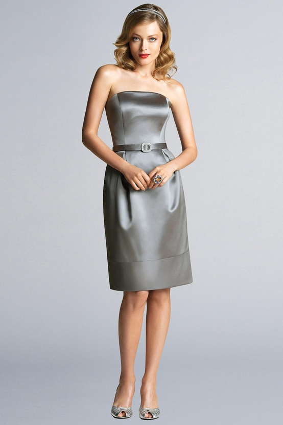 a strapless silk knee bridesmaid dress with a belt, matching shoes and a matching embellished headband