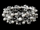 a gorgeous silver wedding bracelet with pearls and rhinestones is amazing for a winter bride