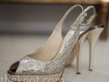 silver peep toe wedding heels are a bold and sparkly idea to rock at your winter wedding
