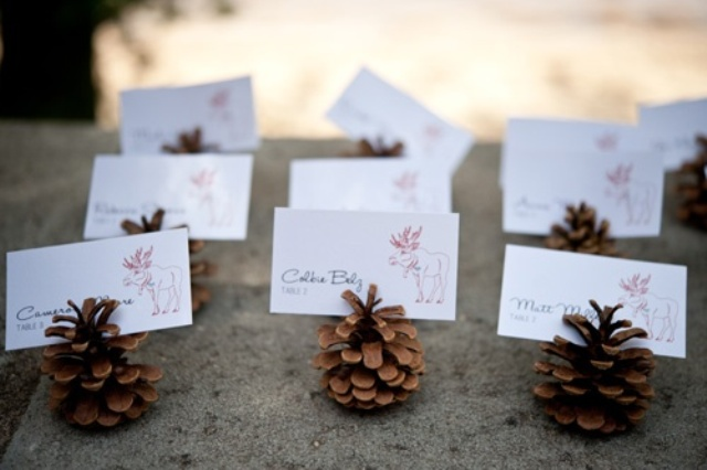 pinecone card holders are a cute and all natural decor detail for a fall or winter wedding or just for a woodland celebration