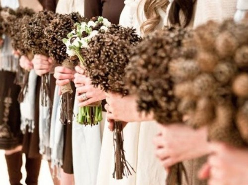 pinecone wedding bouquets will be nice alternative arrangements for your bridesmaids
