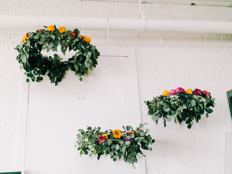 Picture Of simple yet lovely diy flower wedding chandelier  1