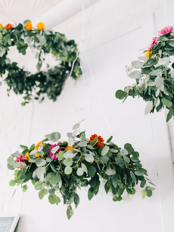 Picture Of simple yet lovely diy flower wedding chandelier  3
