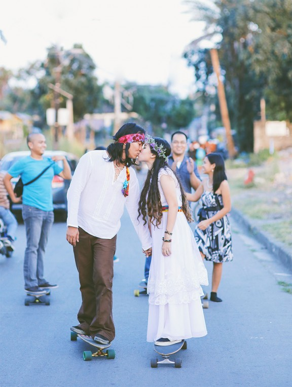 Picture Of skateboarding hippie wedding in the philippines  4