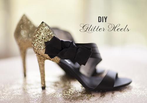 DIY Glitter Wedding Shoes (via laurenconrad)