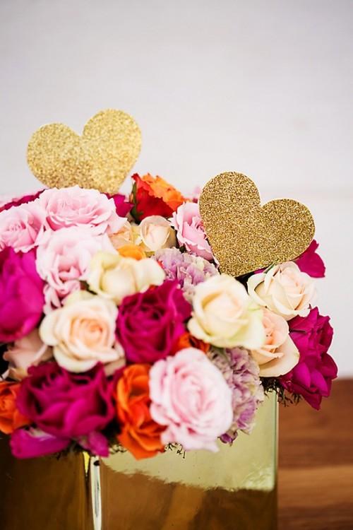 Glitter Heart Flower Picks (via ewedding)