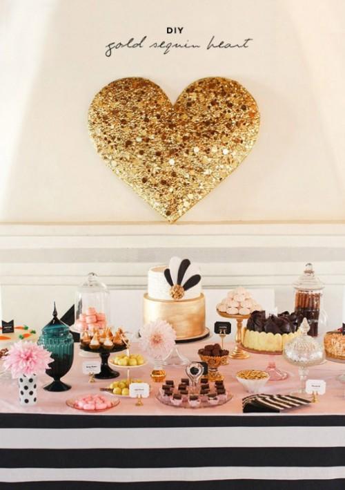 Gold DIY Sequin Heart  (via weddingomania)