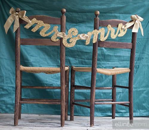 DIY Glittery Mr and Mrs Chair Banner (via elli)