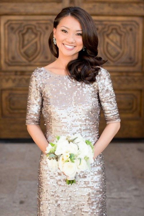 a rose gold sequin sheath wedding dress with a high neckline and long sleeves is a simple and very glam idea for your wedding