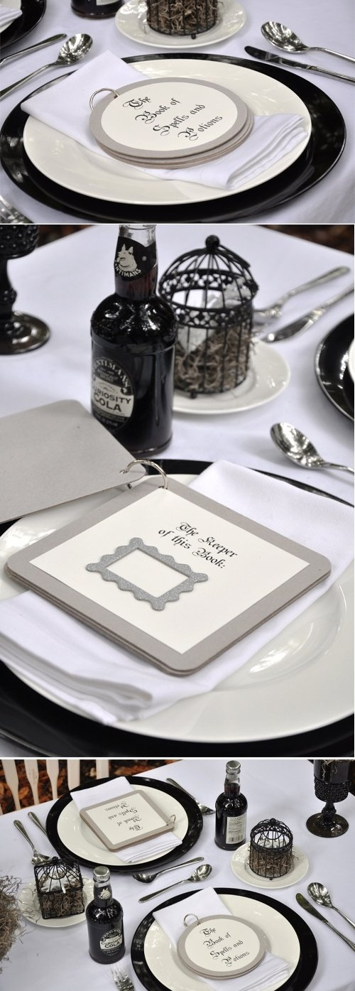 spooky but elegant halloween wedding table settings - Halloween Place Settings