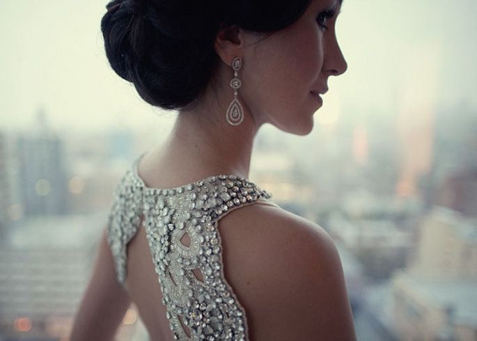 Picture Of statement earrings wedding trend ideas  9