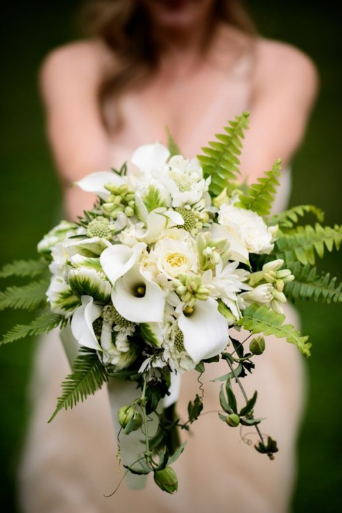 a pretty fern and white calla wedding bouquet will be a nice solution for a woodland bride in spring or summer