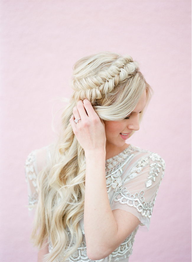 Picture Of stunning bridal shoot with art deco gown and diy braided bridal hairdo  1