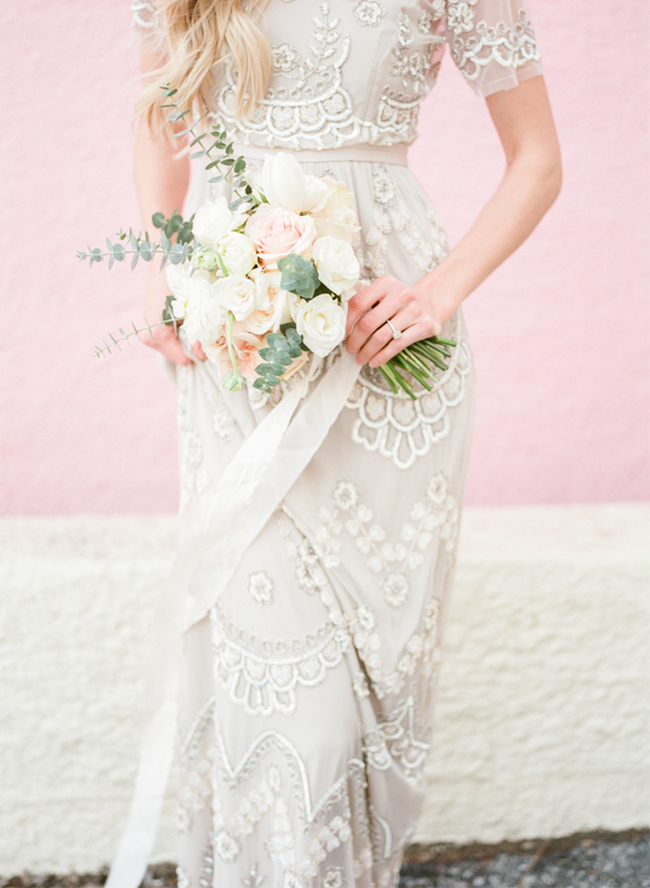Picture Of stunning bridal shoot with art deco gown and diy braided bridal hairdo  3
