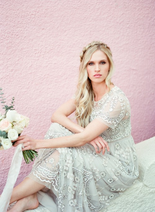Stunning Bridal Shoot With An Art Deco Gown And DIY Braided Bridal Hairdo