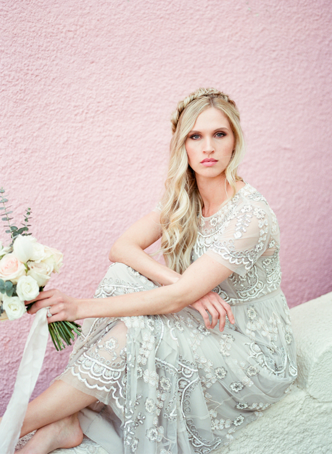 Picture Of stunning bridal shoot with art deco gown and diy braided bridal hairdo  4