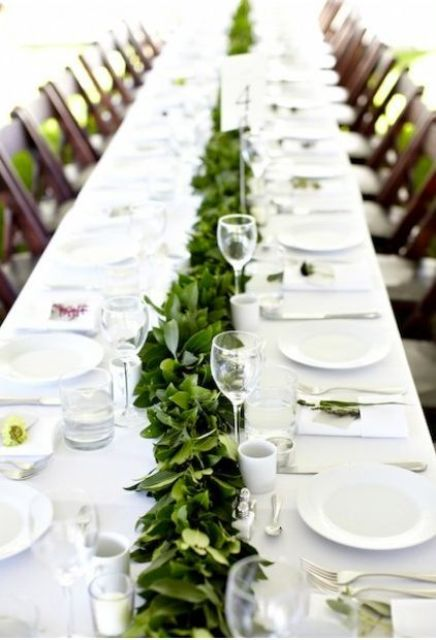 Picture Of Stunning Greenery Wedding Table Runners 13