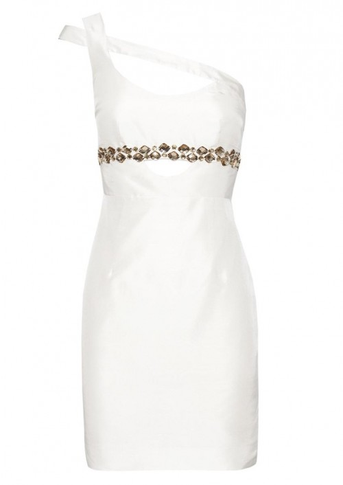 a modern fitting one shoulder mini dress with shiny rhinestones on the bodice is a chic and sexy idea for a bride-to-be