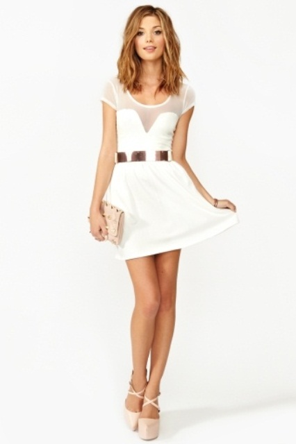 a modern plain mini dress with an illusion neckline, short sleeves, cap sleeves, a metal belt