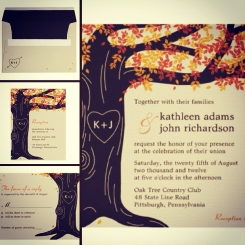 whimsy woodland wedding invitation suite with a tree and a heart cut out on it for a fall wedding