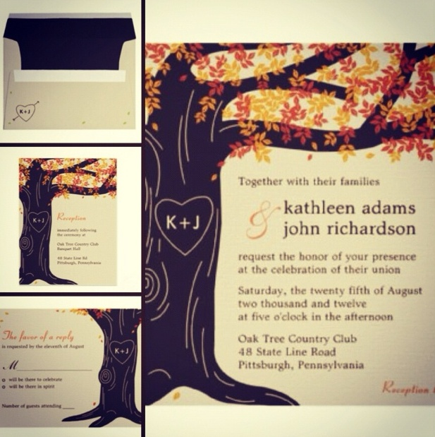 Elegant Fall Wedding Invitations for luxury invitation sample