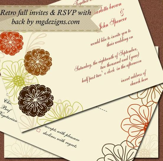 a bright wedding invitation suite with bold flower blooms and vingettes printed on it