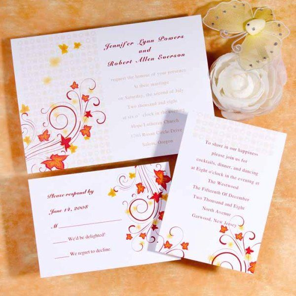 bright fall wedding invitations with bold fall leaves and red calligraphy look very chic and cool
