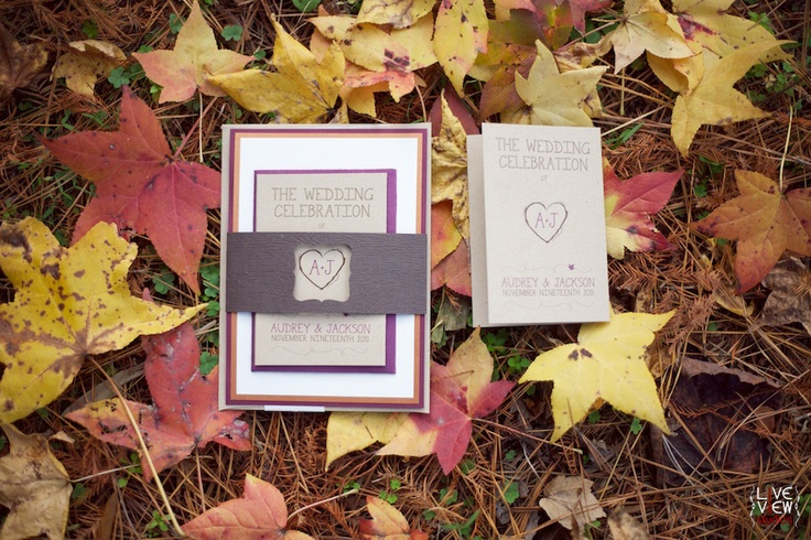 a chic wedding invitation suite in purple, chocolate brown and red plus kraft paper