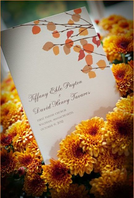 a chic fall wedding invitation with bright fall leaves printed is a cool idea for a fall wedding