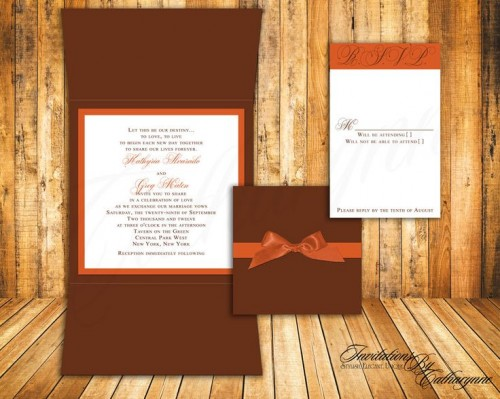 a chocolate brown and orange wedding invitation suite with ribbons and monograms is a timeless idea