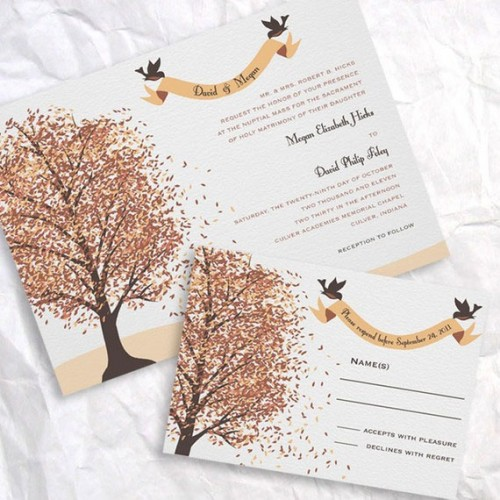 a bold wedding invitation suite with fall trees printed, birds and calligraphy for a bold look