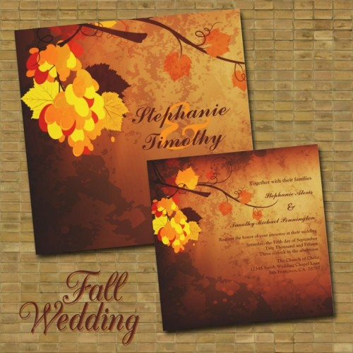 bold fall wedding invitations done in burgundy, chocolate brown, orange and yellow with leaf prints