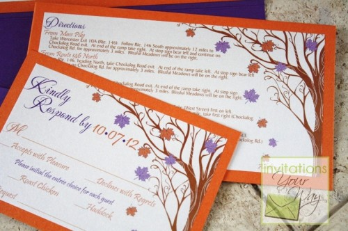 super colorful fall wedding invitaitons with purple and orange leaves and trees printed on them