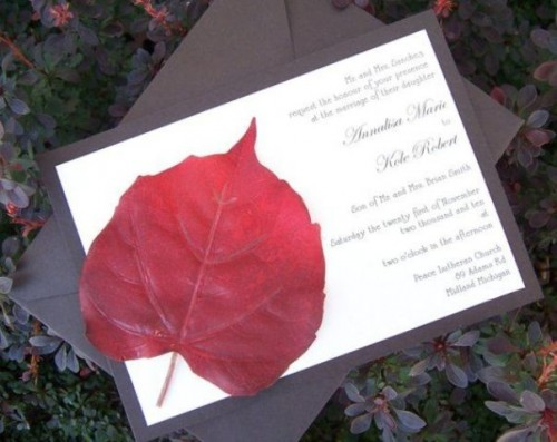 a chocolate brown and white wedding invitation suite with a bright red fall leaf