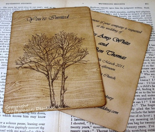 fall wedding invitations imitating real wood or plywood are very unusual and cool