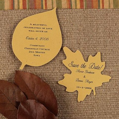 cute fall leaf-shaped wedding invitations with calligraphy are a nice and cool idea