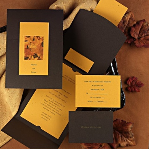 a fall colored wedding invitation suite in deep brown and yellow plus some leaf patterns