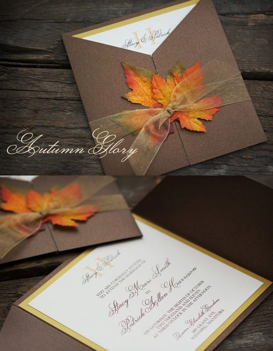 46 stylish and elegant fall wedding invitations - Fall Themed Wedding Invitations